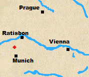 Map of Austria and Bavaria with Abensburg marked.