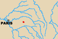 Map of area west of Paris with Champaubert marked.