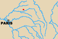 Map of area north-west of Paris with Croanne marked.