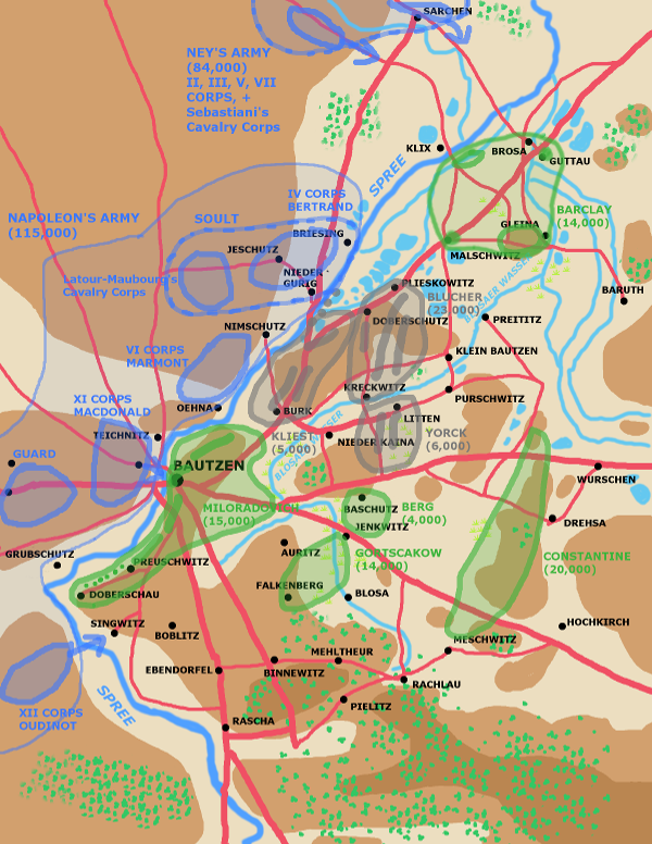 A map showing the battle of Bautzen early May 20th 1813.