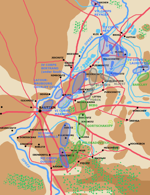 A map showing the battle of Bautzen early May 21st 1813.