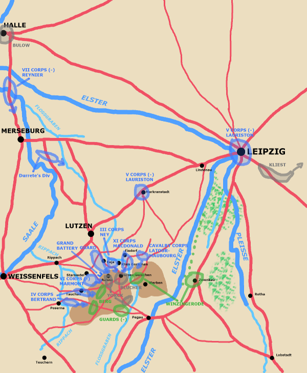 A map showing the situation around Lutzen mid-day May2nd.