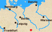 Map of north Germany with Bautzen marked.