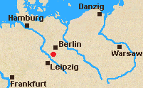 Map of east central Germany with xxx marked.