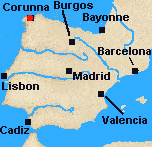 Map of Iberia with Corunna marked.