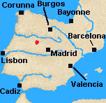 Map of Iberia with Salamanca marked.