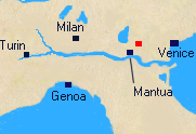 Map of Northern Italy with Caldiero marked.