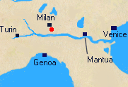 Map of Northern Italy with Lodi marked.