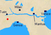 Map of Northern Italy with location of Mondovi.