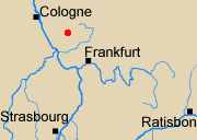 Map of Rhineland with Altenkirchen marked.