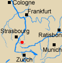 Map of Rhineland with Haslach marked.