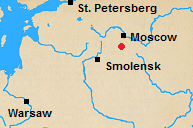 Map of north central Russian with Maloyaroslavets marked.