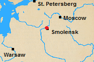 Map of north central Russian with Smolensk marked.