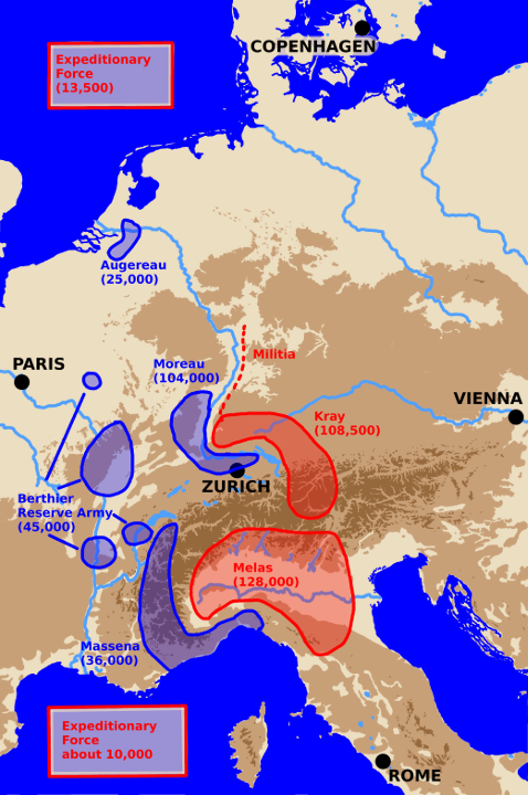 A map showing Central Europe with Army locations at the start of 1800.