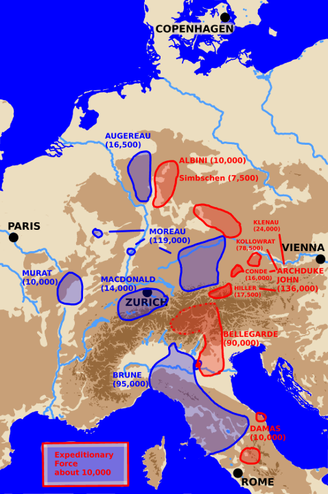 A map showing Central Europe with Army locations at the start of the 1800 winter campaign.