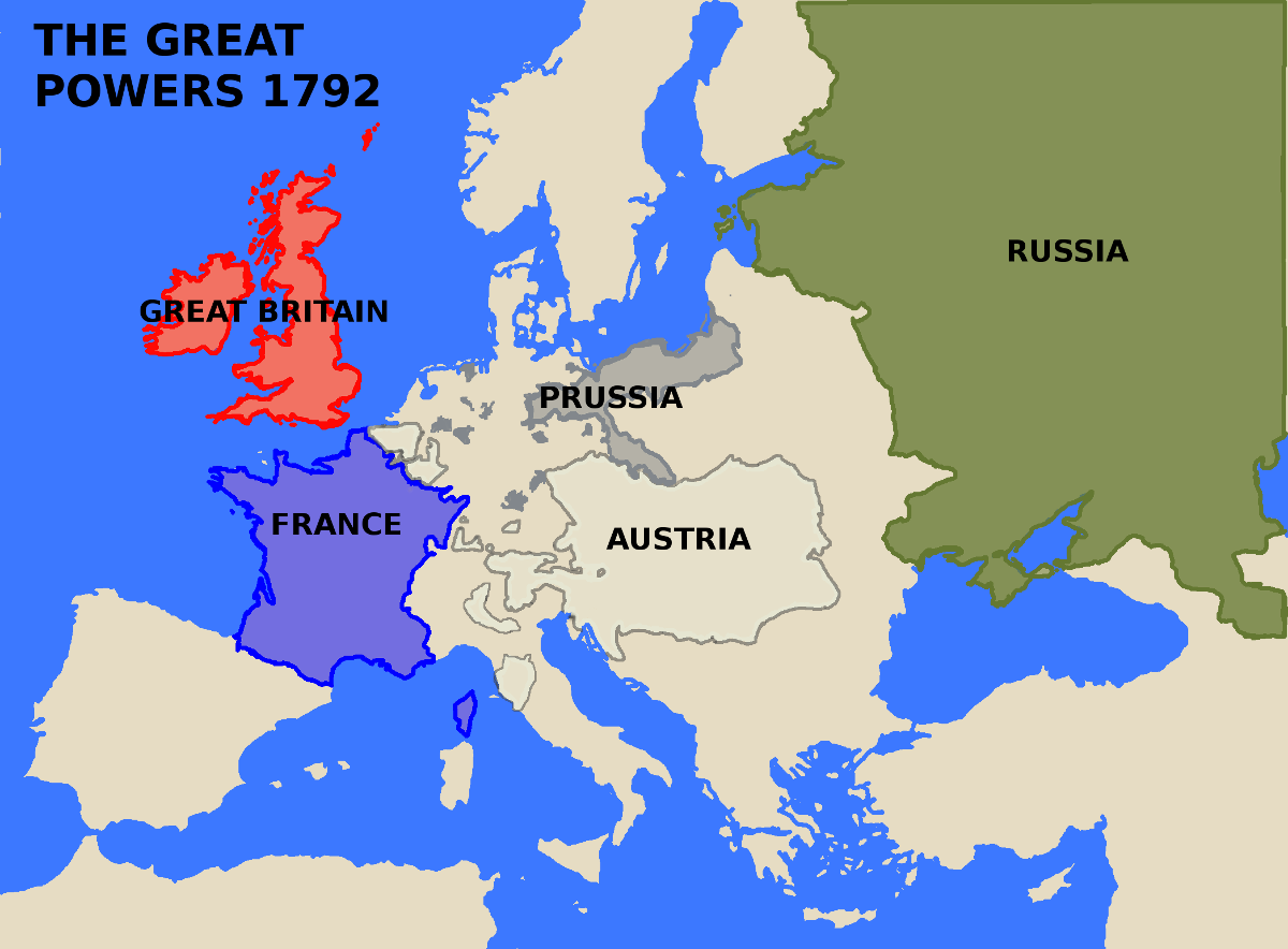 A map showing Europe's Great Powers in 1792.