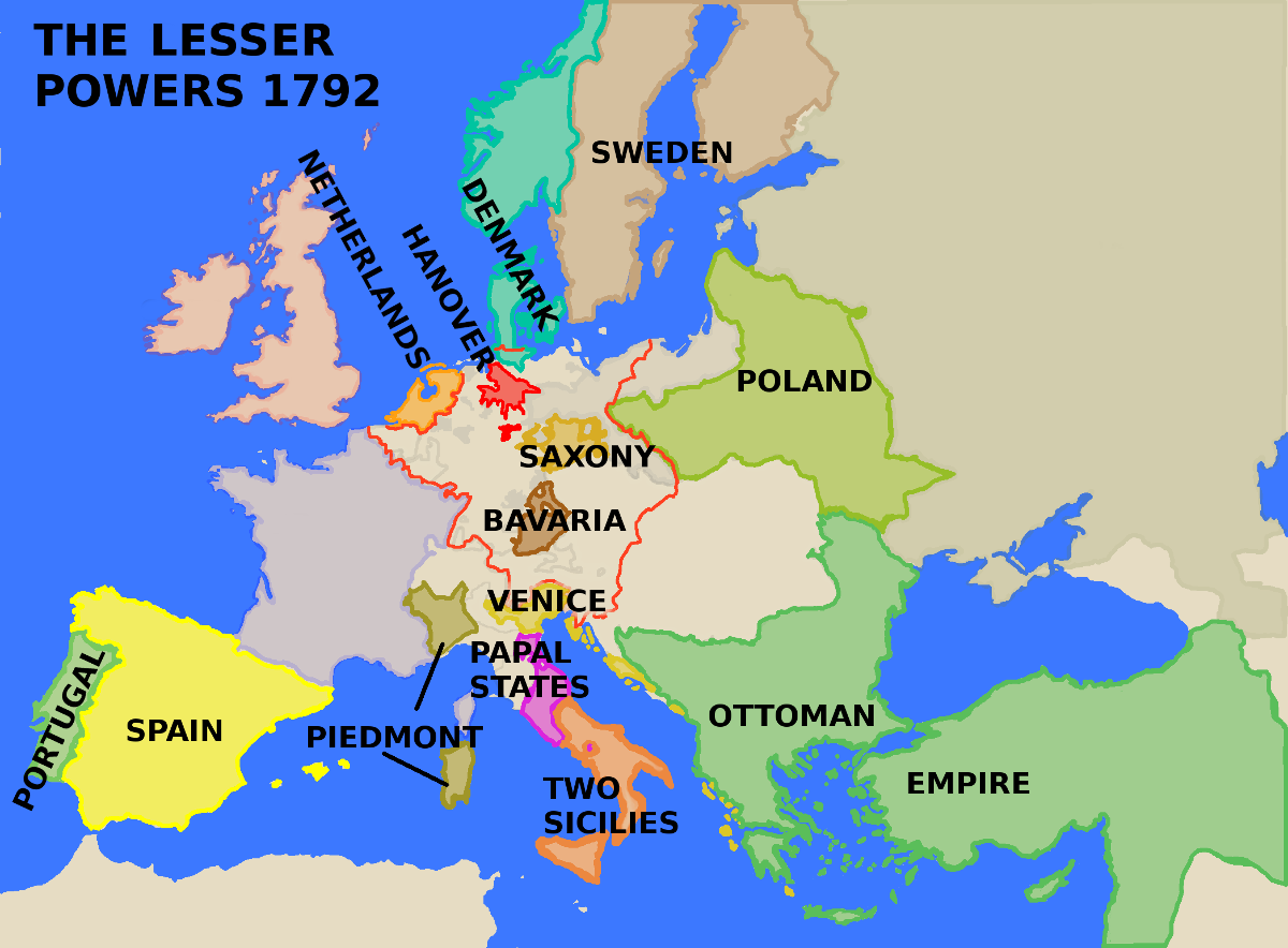 A map showing Europe's Lesser Powers in 1792.