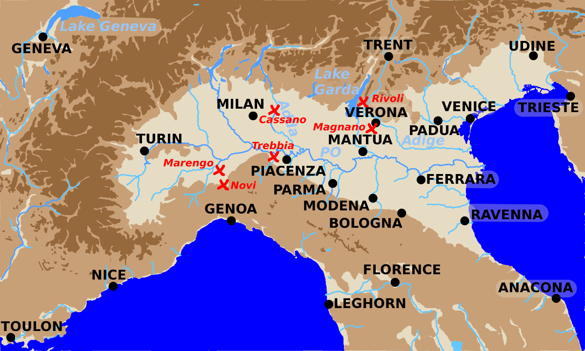 A map showing battles in Northern Italy from 1797 to 1800.