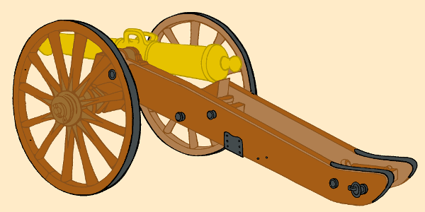 An illustration showing a split trail carriage of the Napoleonic Wars.